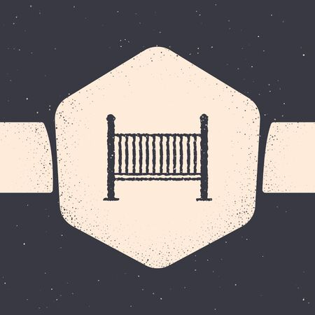 Grunge Baby crib cradle bed icon isolated on grey background. Monochrome vintage drawing. Vector Illustration
