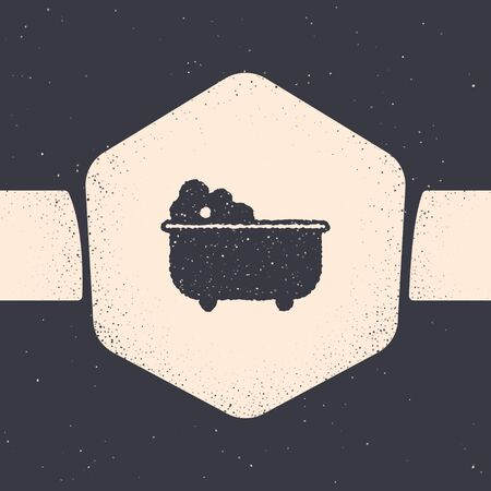 Grunge Baby bathtub with foam bubbles inside icon isolated on grey background. Monochrome vintage drawing. Vector Illustration