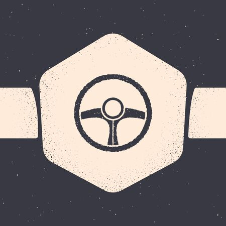 Grunge Steering wheel icon isolated on grey background. Car wheel icon. Monochrome vintage drawing. Vector Illustration Stock Vector - 134538457