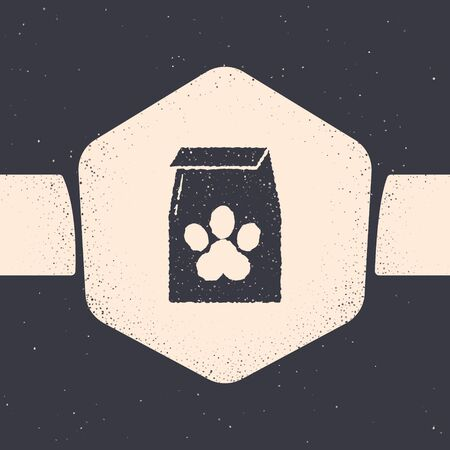 Grunge Bag of food for pet icon isolated on grey background. Food for animals. Pet food package. Dog or cat paw print. Monochrome vintage drawing. Vector Illustration