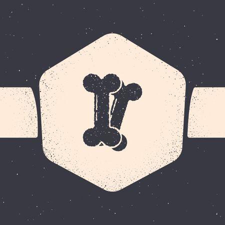 Grunge Dog bone icon isolated on grey background. Pets food symbol. Monochrome vintage drawing. Vector Illustration