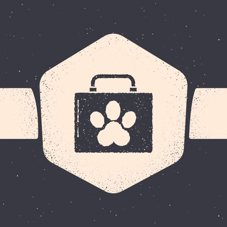Grunge Pet first aid kit icon isolated on grey background. Dog or cat paw print. Clinic box. Monochrome vintage drawing. Vector Illustration Zdjęcie Seryjne - 134538564