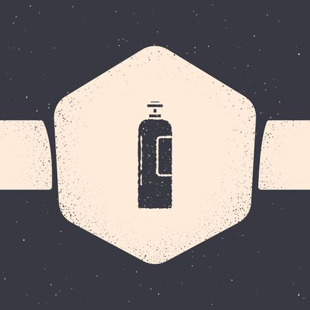 Grunge Industrial gas cylinder tank for all inert and mixed inert gases icon isolated on grey background. Monochrome vintage drawing. Vector Illustration