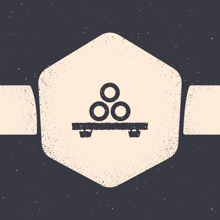Grunge Sushi on cutting board icon isolated on grey background. Asian food sushi on wooden board. Monochrome vintage drawing. Vector Illustration Foto de archivo - 134538506