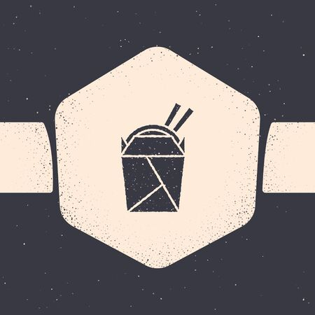 Grunge Asian noodles in paper box and chopsticks icon isolated on grey background. Street fast food. Korean, Japanese, Chinese food. Monochrome vintage drawing. Vector Illustration