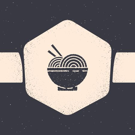 Grunge Asian noodles in bowl and chopsticks icon isolated on grey background. Street fast food. Korean, Japanese, Chinese food. Monochrome vintage drawing. Vector Illustration Illustration