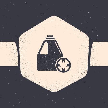 Grunge Antifreeze canister icon isolated on grey background. Auto service. Car repair. Monochrome vintage drawing. Vector Illustration