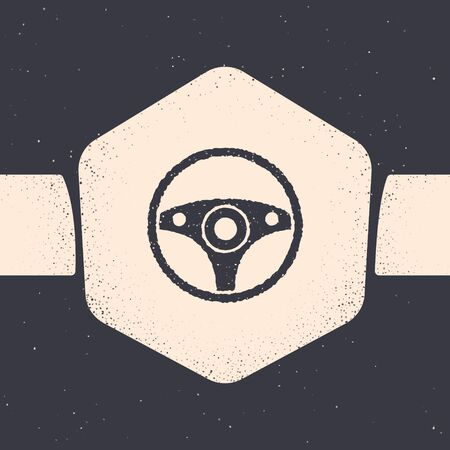 Grunge Steering wheel icon isolated on grey background. Car wheel icon. Monochrome vintage drawing. Vector Illustration