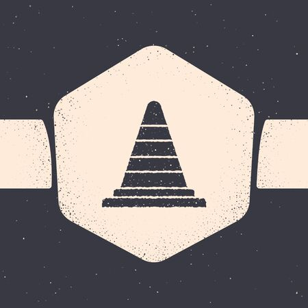 Grunge Traffic cone icon isolated on grey background. Monochrome vintage drawing. Vector Illustration