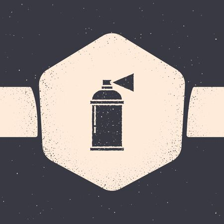 Grunge Paint spray can icon isolated on grey background. Monochrome vintage drawing. Vector Illustration