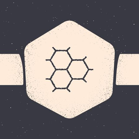 Grunge Chemical formula consisting of benzene rings icon isolated on grey background. Monochrome vintage drawing. Vector Illustration  イラスト・ベクター素材