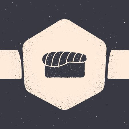 Grunge Sushi icon isolated on grey background. Traditional Japanese food. Monochrome vintage drawing. Vector Illustration Foto de archivo - 134540645