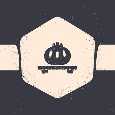 Grunge Dumpling on cutting board icon isolated on grey background. Traditional chinese dish. Monochrome vintage drawing. Vector Illustration