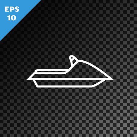 Icône de Jet ski ligne blanche isolée sur fond sombre transparent. Scooter de l'eau. Sport extrême. Illustration vectorielle