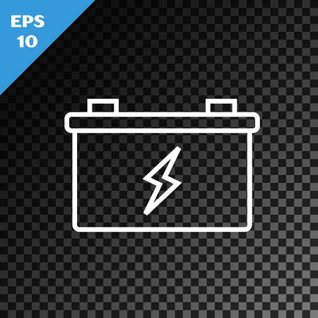 White line Car battery icon isolated on transparent dark background. Accumulator battery energy power and electricity accumulator battery. Vector Illustration Иллюстрация