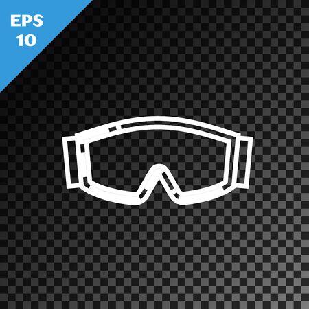 White line Ski goggles icon isolated on transparent dark background. Extreme sport. Sport equipment. Vector Illustration