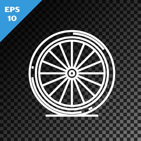 White line Bicycle wheel icon isolated on transparent dark background. Bike race. Extreme sport. Sport equipment. Vector Illustration