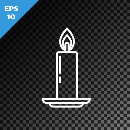 White line Burning candle in candlestick icon isolated on transparent dark background. Old fashioned lit candle. Cylindrical candle stick with burning flame. Vector Illustration Векторная Иллюстрация