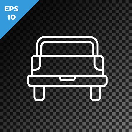 White line Pickup truck icon isolated on transparent dark background. Vector Illustration