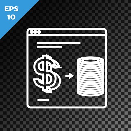 White line Online casino chips exchange on stacks of dollars icon isolated on transparent dark background. Vector Illustration