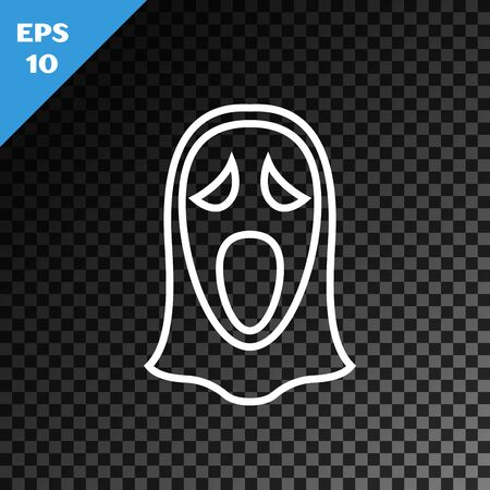 White line Funny and scary ghost mask for Halloween icon isolated on transparent dark background. Happy Halloween party. Vector Illustration