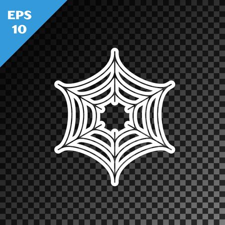 White line Spider web icon isolated on transparent dark background. Cobweb sign. Happy Halloween party. Vector Illustration