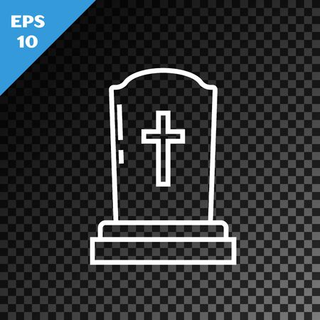 White line Tombstone with cross icon isolated on transparent dark background. Grave icon. Vector Illustration 일러스트
