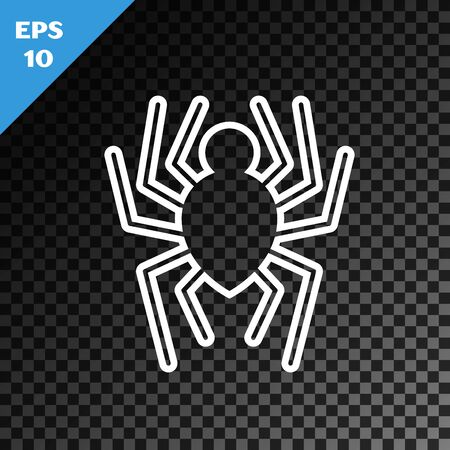 White line Spider icon isolated on transparent dark background. Happy Halloween party. Vector Illustration