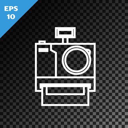 White line Photo camera icon isolated on transparent dark background. Foto camera icon. Vector Illustration Illusztráció