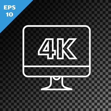 White line Computer PC monitor display with 4k video technology icon isolated on transparent dark background. Vector Illustration 向量圖像