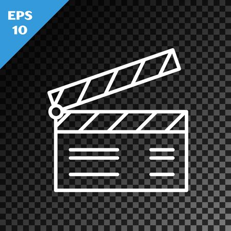 White line Movie clapper icon isolated on transparent dark background. Film clapper board. Clapperboard sign. Cinema production or media industry concept. Vector Illustration