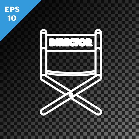 White line Director movie chair icon isolated on transparent dark background. Film industry. Vector Illustration