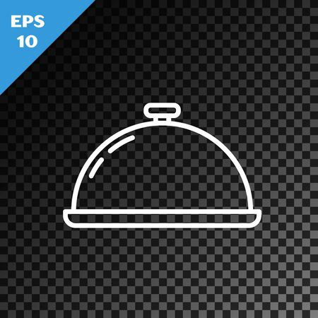 White line Covered with a tray of food icon isolated on transparent dark background. Tray and lid sign. Restaurant cloche with lid. Kitchenware symbol. Vector Illustration