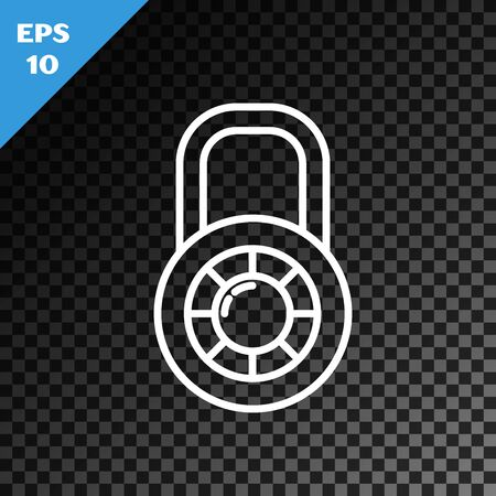 White line Safe combination lock wheel icon isolated on transparent dark background. Combination padlock. Security, safety, protection, password, privacy. Vector Illustration