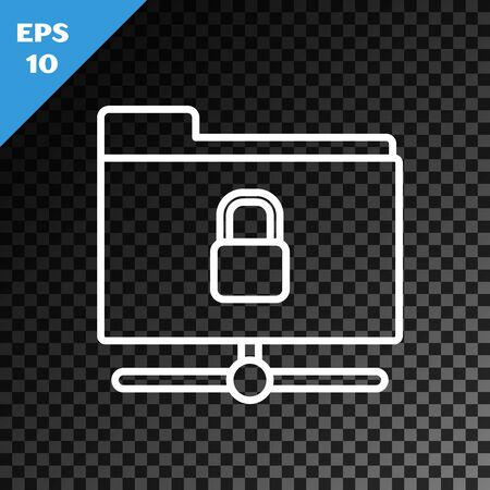 White line FTP folder and lock icon isolated on transparent dark background. Concept of software update. Security, safety, protection concept. Vector Illustration