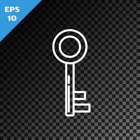 White line Key icon isolated on transparent dark background. Vector Illustration