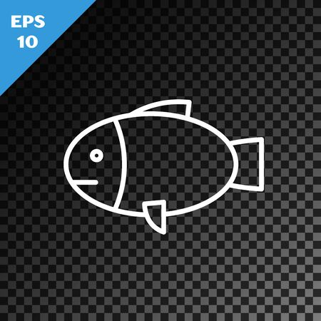 White line Fish icon isolated on transparent dark background. Vector Illustration Foto de archivo - 134545940