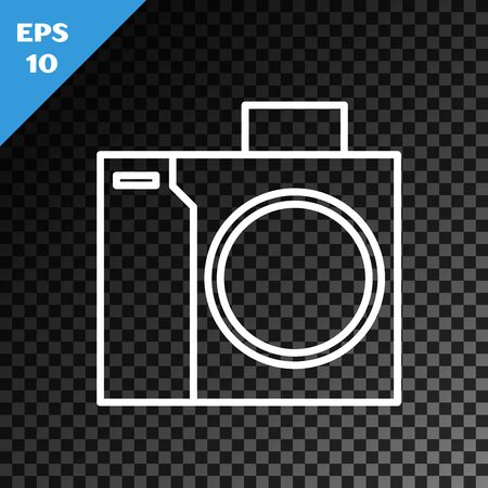 White line Photo camera for diver icon isolated on transparent dark background. Foto camera icon. Diving underwater equipment. Vector Illustration
