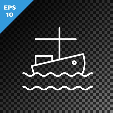 White line Fishing boat on water icon isolated on transparent dark background. Vector Illustration Stock Illustratie