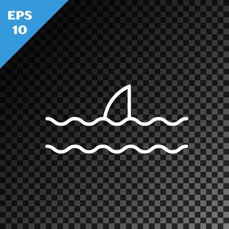 White line Shark fin in ocean wave icon isolated on transparent dark background. Vector Illustration Foto de archivo - 134545960