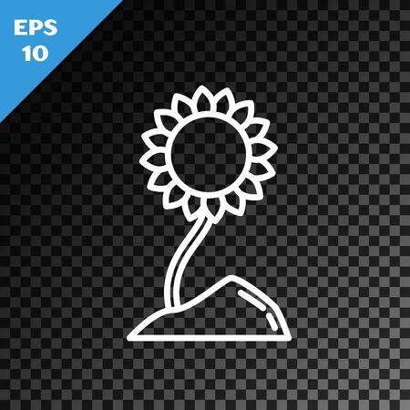 White line Sunflower icon isolated on transparent dark background. Vector Illustration