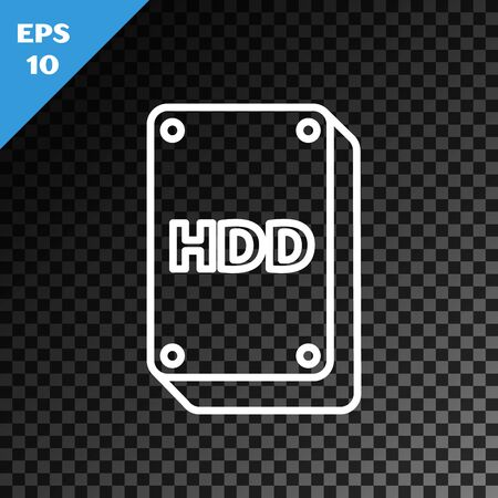 White line Hard disk drive HDD icon isolated on transparent dark background. Vector Illustration