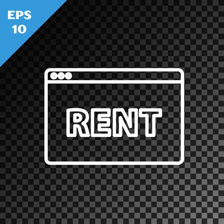 White line Hanging sign with text Online Rent icon isolated on transparent dark background. Signboard with text Rent. Vector Illustration Vektoros illusztráció