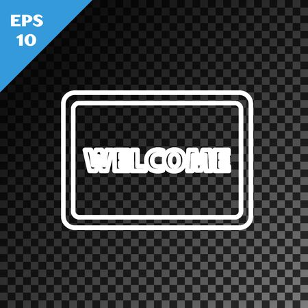 White line Doormat with the text Welcome icon isolated on transparent dark background. Welcome mat sign. Vector Illustration