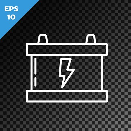 White line Car battery icon isolated on transparent dark background. Accumulator battery energy power and electricity accumulator battery. Lightning bolt. Vector Illustration