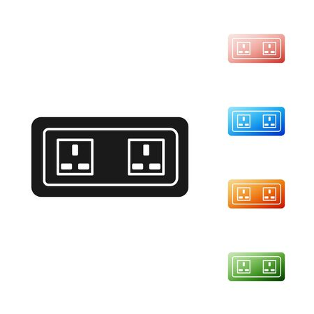 Black Electrical outlet icon isolated on white background. Power socket. Rosette symbol. Set icons colorful. Vector Illustration