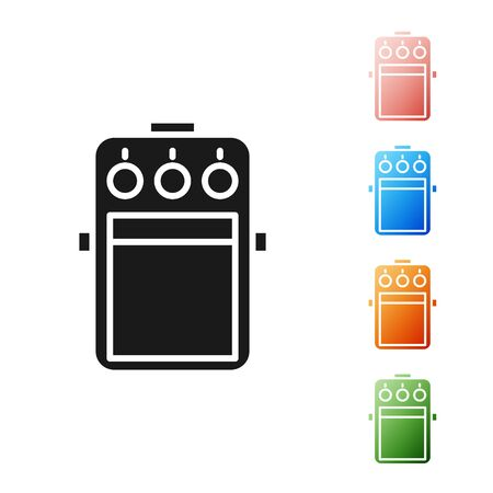Black Guitar pedal icon isolated on white background. Musical equipment. Set icons colorful. Vector Illustration