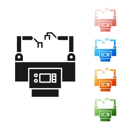 Black Assembly line icon isolated on white background. Automatic production conveyor. Robotic industry concept. Set icons colorful. Vector Illustration Illustration