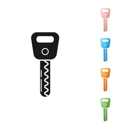 Black Car key icon isolated on white background. Set icons colorful. Vector Illustration Illustration