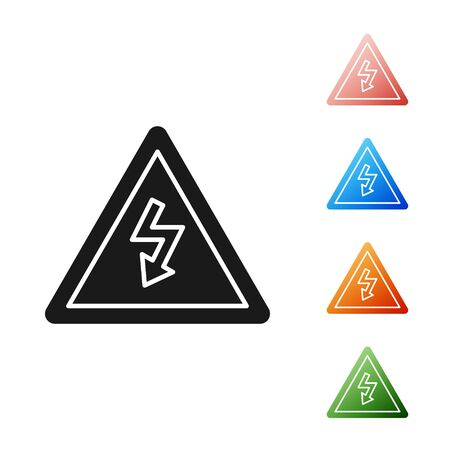 Black High voltage sign icon isolated on white background. Danger symbol. Arrow in triangle. Warning icon. Set icons colorful. Vector Illustration